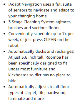 Roomba 650 features