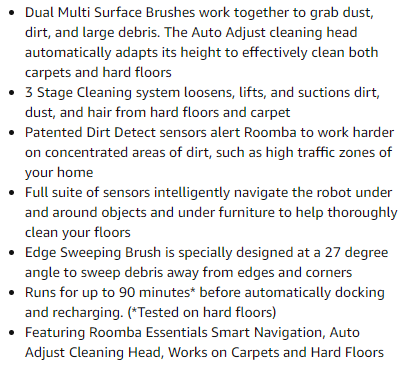 roomba 614 features